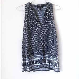 Willi Smith Black & White Sleeveless Blouse - XS